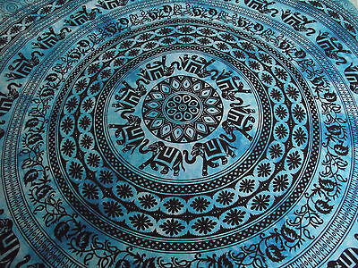 Indian Blue Tie Dye Mandala Elephants Wall Hanging Hippy Tapestry Queen Size