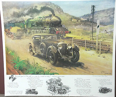Bentley vs Blue Train By Terence Cuneo