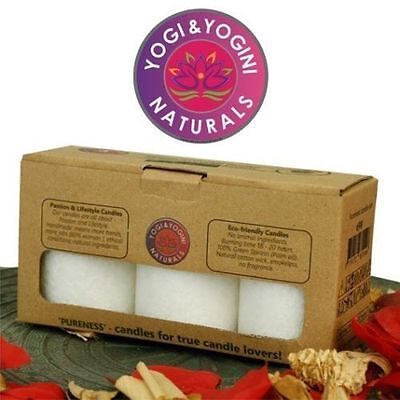 Gift Box of 3 Pureness Fair Trade Vegan Stearin Candles 8 x 5.5 cm each candle