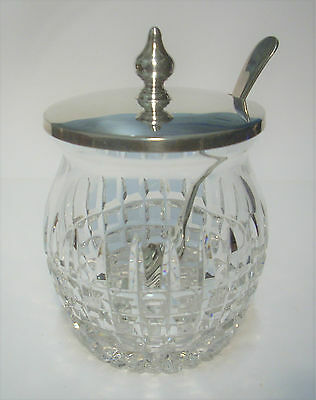 Hobnail Cut Glass Preserves Pot with Silver Plated Lid & Spoon
