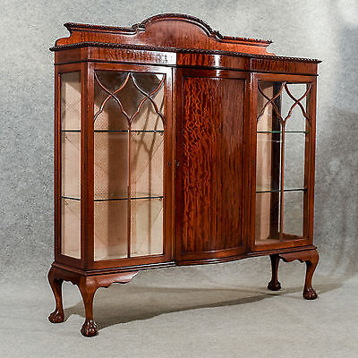 Antique Display Case China Cabinet Quality Bow Front Victorian Mahogany c1900