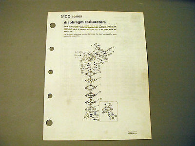 Walbro MDC Series Carburetor Parts Manual