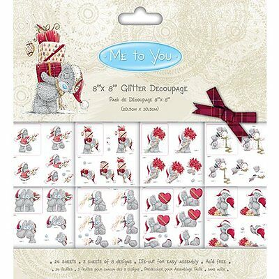 Me To You' Tatty Christmas Paper Card Craft Collection - 8x8 Glitter Decoupage P