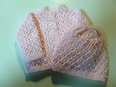 BABY JACKET & HAT  Hand Knitted  0-6 months  PINK