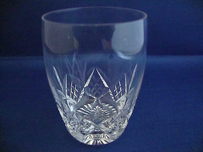 3 x Stuart Signed Cut Glass Crystal Glengarry Barrel Whisky Tumblers