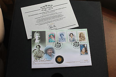 Lady Of The Century H.M. The Queen Mother 24ct Gold Coin Cover +C.O.A. Ltd Ed