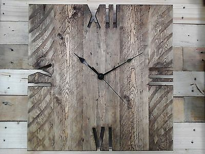 Rustic Pallet Wood Square 'Roman' Clock Shabby Chic Old Style Vintage 40cm2