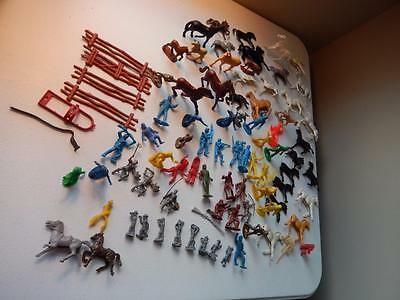 Vintage Lot of Cowboys & Indians, Horses & Others & (8) Metal Soldier Figures