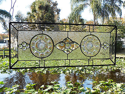 Heisey Colonial Depression Glass Stained Glass Plate Panel OOAK Handmade Vintage