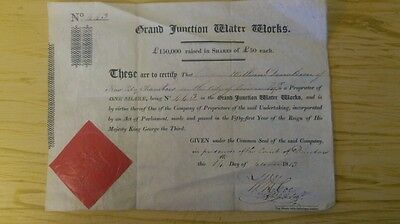 Grand Junction Water Works: Genuine Share Cert 1813