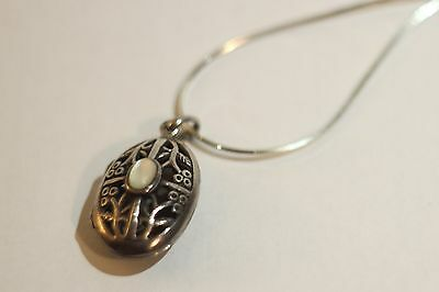 """Small 925 silver locket with 18"""" sterling silver chain and moonstone inlay"""