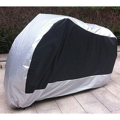 Black+Silver Outdoor Motorcycle Waterproof Bike Moped Prevent Rain Cover size XL