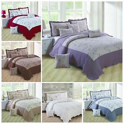 New Beautiful Embroidery  Quilted Bedspread /Throw & 2 pillow shams