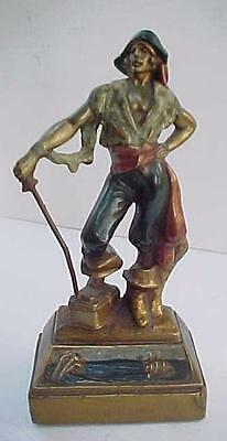 "Vintage 1930's Bronze Clad PIRATE Figure Statue Art Deco 7.5"" Tall  Very Nice"