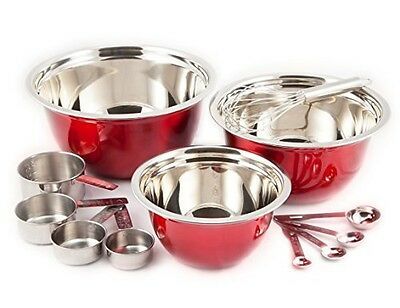 Heuck 12-Piece Classics Stainless Steel Mix and Measure Bowl Set, Red