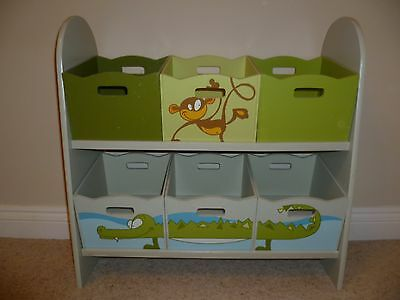 Kids Wooden Bookcase - Jungle themed, 6 storage boxes