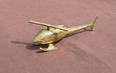 "Solid Brass Helicopter 8"" Long, Rotating Rotor"