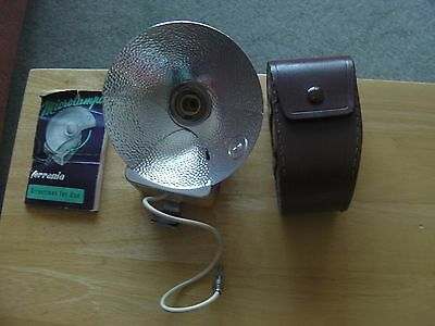 Vintage Ferrania Folding Camera Flash In Leather Case, Microlampo, Instructions