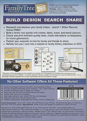 Family Tree Heritage Deluxe V7. Genealogy Software Win 10 fully featured