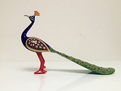 Handmade Painted Indian 'Peacock' Brass Enameled Rajasthani Handicraft India