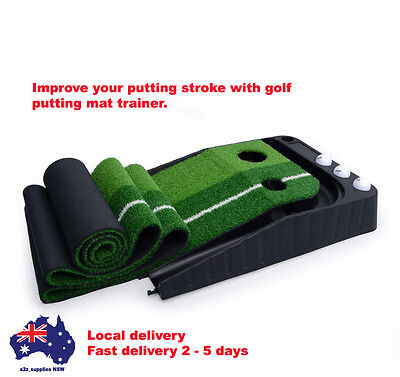A Set of Quality Portable Golf Practice Putting Mat Trainer - Indoor Outdoor