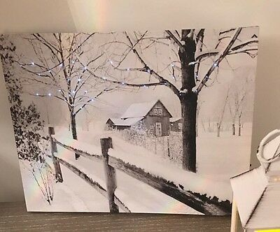 Christmas LED Light Up Christmas Snowy Scene Canvas / Picture BN