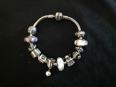Silver Pandora Bracelet with 12 charms - Pre Owned