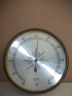 """Vintage Hoffritz 10"""" Wall Thermometer ~ Brass ~ Germany"""