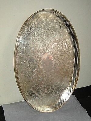 """Good quality Silver Plated Large Oval Gallery Tray ~18""""~  SHEFFIELD England"""