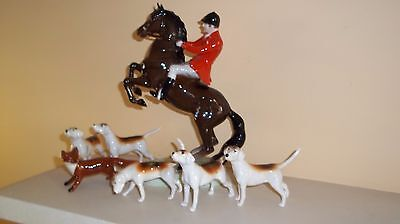 Beswick Huntsman Horse & Rider Fox & Five Foxhound Dogs All Perfect Condition