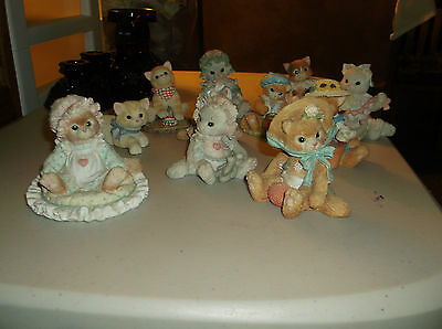 Lot of 11 Calico Kittens Figurines,1992-1999