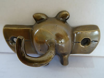 Delightful  Small Vintage  Brass  Pigs Tail Wall Hook.