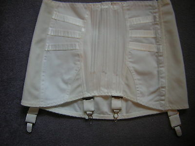 vintage girdle white with satin inserts four suspenders and hook & eye fastening