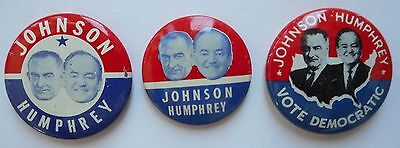 1964 Lyndon Johnson Presidential 3 campaign buttons, jugates, Humphrey near mint