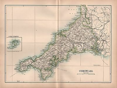 1889 Antique Map Johnston England Cornwall Falmouth St Ives Launceston Padstow