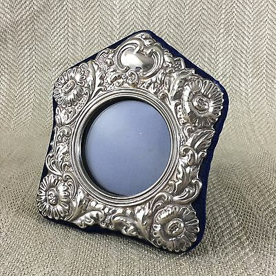 Vintage Silver Plated Picture Frame Photo Victorian Antique Style Round Ornate
