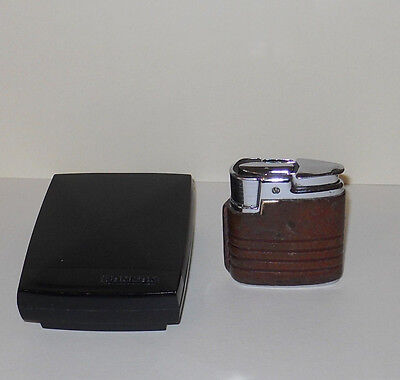 RONSON BROWN CLAD GAS POCKET LIGHTER with windsheild &box