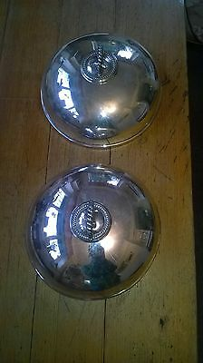 Pair (two) antique silver plate cover dome platter - Silver Plated