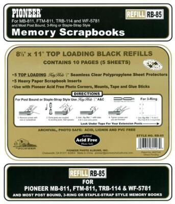 Pioneer 8-1/2x11 Black Memory Book Refill Pages RB-85
