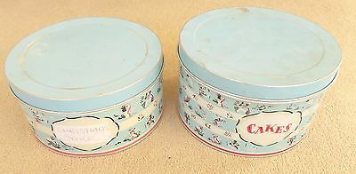 2 GENUINE VINTAGE 1950S CAKE STORAGE TINS - powder blue with stylised figures