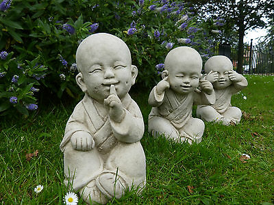 Set of 3 Large Buddhas - No See Hear Speak - Garden Ornament - Oriental - Statue