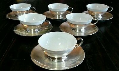 6 Western Germany Demitasse Porcelain Cups Silverplate Saucers
