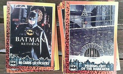 BATMAN RETURNS TRADE CARDS by Topps  1992 collection of 54 cards