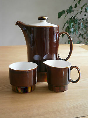 Vintage Poole pottery coffee pot, milk jug and sugar bowl