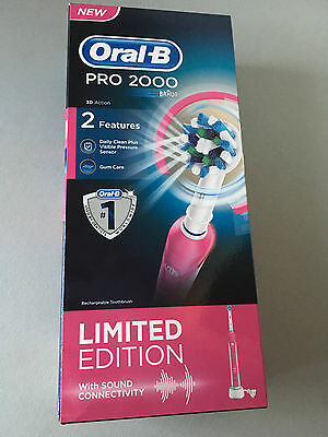 Oral-B Pro 2000 3D Action Limited Edition Pink Rechargeable Electric Toothbrush