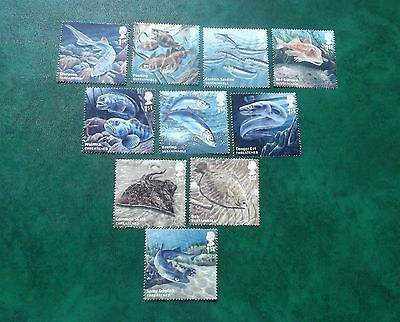 Gb Set Of 10 Used Stamps Off Paper Sustainable Fish 2015
