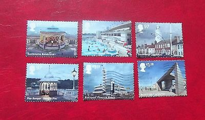 Gb Set Of 6 Used Stamps Off Paper Seaside Architecture 2016