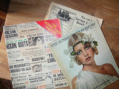 THREE COPIES OF THE SUNDAY TIMES MAGAZINE FOR 1970's