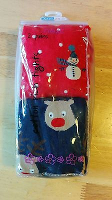 Girls Next Christmas Cotton Rich Tights Age 3-4 Years