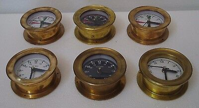 6 pcs U.S. Navy Marine Ship's BRASS WALL Clock -All Different -100% SATISFACTION